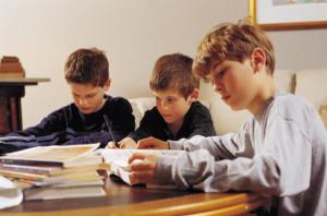 boys studying